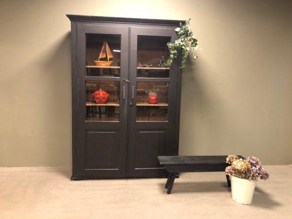 black-french-display-cupboard-zwart-franse-vitrinekast-vintage H200 D41 B137 1