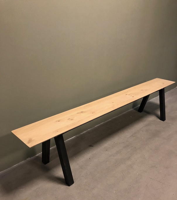 Amazing Industrial Oak Steel Bench Gmtry Best Dining Table And Chair Ideas Images Gmtryco