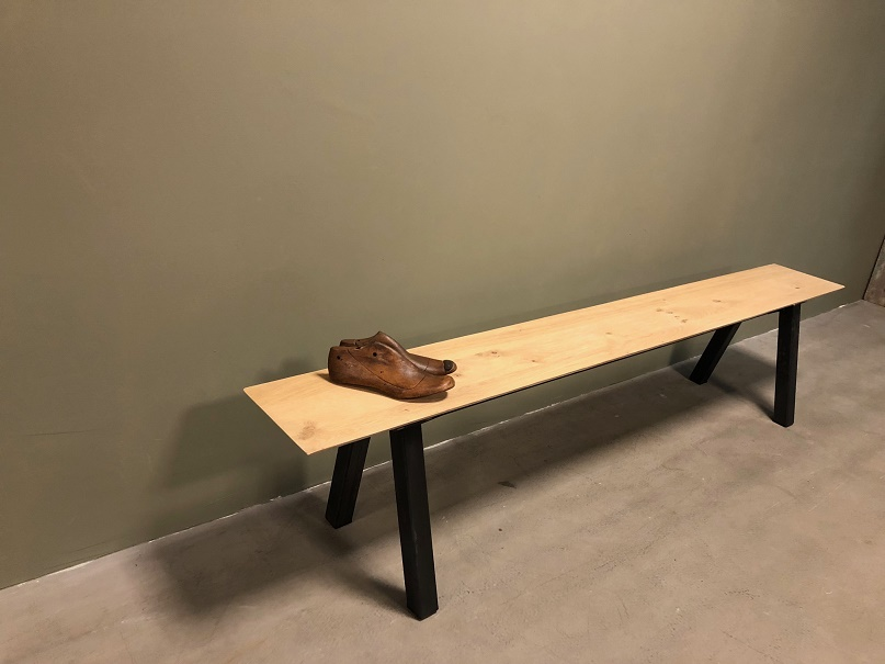 Fantastic Industrial Oak Steel Bench Gmtry Best Dining Table And Chair Ideas Images Gmtryco