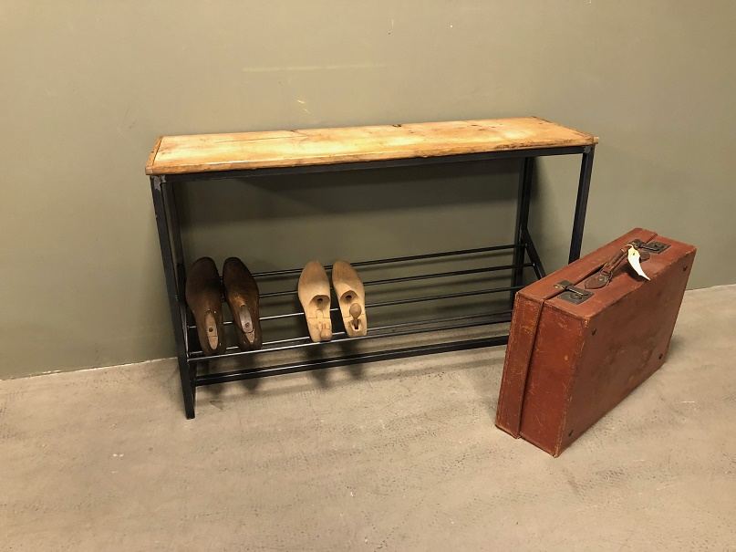 Bank Met Schoenenopberger.Schoenenrek Shoerack Bank Bench Industrieel Industrial L101 H63 D31